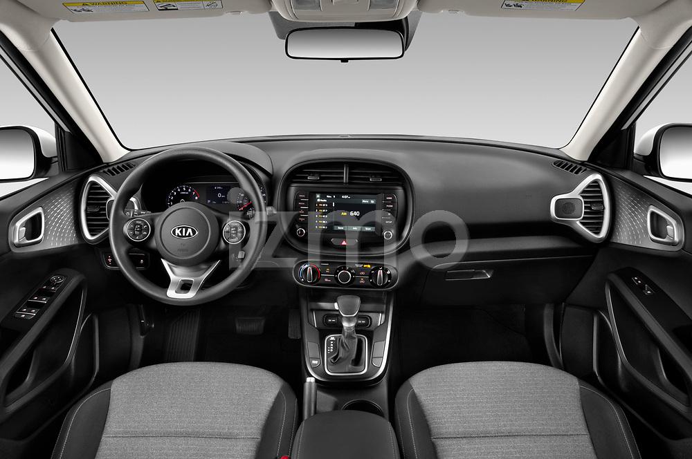 Stock photo of straight dashboard view of 2020 KIA Soul S 5 Door Hatchback Dashboard