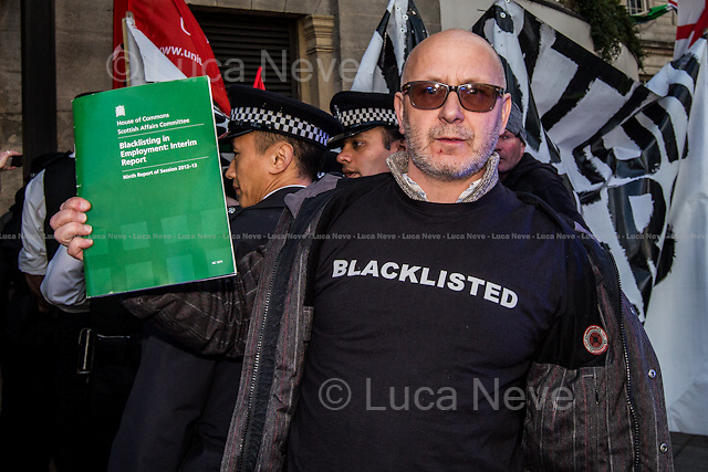 London, 18/04/2013. Protesters from Unite the Union held a demonstration outside the Grosvenor House (Hotel) in Park Lane where the annual construction industry awards (&quot;Building Awards 2013&quot;) was taking place. The Protesters demonstrated against the blacklisting system in the construction industry and claimed that the Award sponsor, Kier, use blacklisting against workers and union activists.<br />