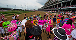 LOUISVILLE, KY - MAY 04: Jockeys line up as a show of support for the Survivor's Parade on Kentucky Oaks Day at Churchill Downs on May 4, 2018 in Louisville, Kentucky. (Photo by Scott Serio/Eclipse Sportswire/Getty Images)