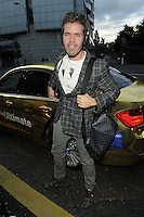 Perez Hilton.attended the Kensington Club new boutique nightclub launch party, The Kensington Club, High Street Kensington, London, England,.20th July 2012..full length grey gray plaid checked suit jacket blazer  shoes tartan bag car white t-shirt  .CAP/CAN.©Can Nguyen/Capital Pictures.