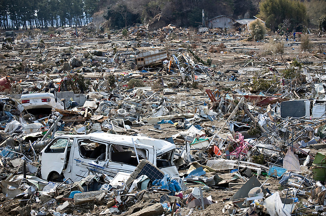 Photo shows the devastation caused by the March 11 quake and tsunami in Nobiru, Miyagi Prefecture, Japan on  25 March 20011.  .Photographer: Robert Gilhooly