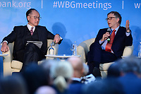"Washington, DC - April 21, 2018: Microsoft founder Bill Gates, right, and World bank President Jim Yong Kim participate in a panel discussion on ""Building Human Capital"" at the World Bank Group in Washington, DC April 21, 2018, as part of the IMF/World bank Spring Meetings.  (Photo by Don Baxter/Media Images International)"