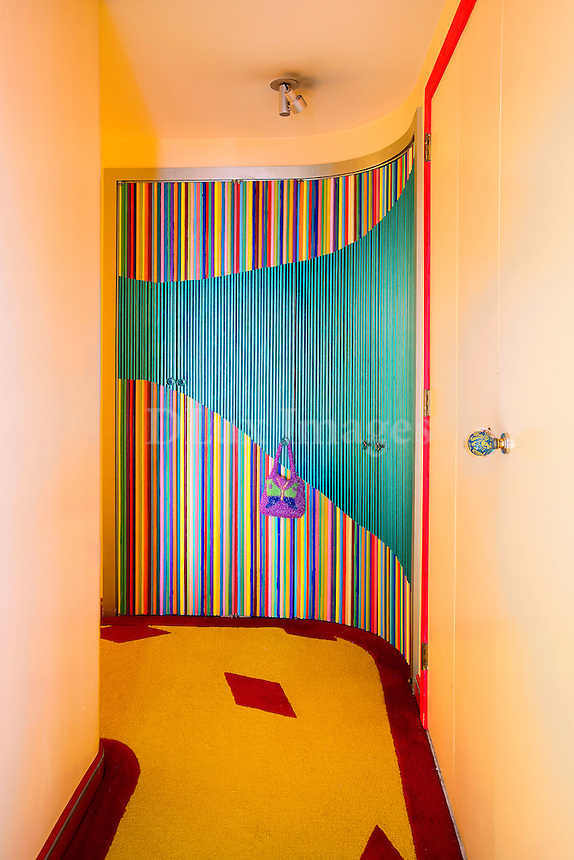 colorful closets in the hallway