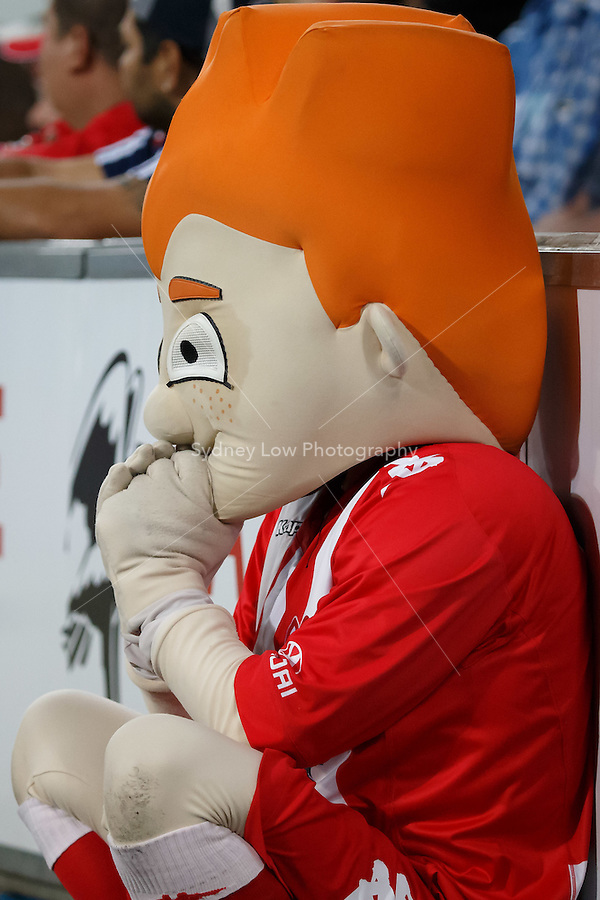 The Heart mascot watches the action in the round 21 match between Melbourne Heart and Melbourne Victory in the Australian Hyundai A-League 2013-24 season at AAMI Park, Melbourne, Australia. Photo Sydney Low/Zumapress<br /> <br /> This image is not for sale on this web site. Please visit zumapress.com for licensing