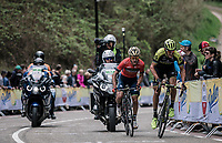 Roman Kreuziger (CZE/Mitchelton Scott) and Enrico Gasparotto (ITA/Bahrain Merida) powering up on the 3th and last passage on the Cauberg. <br /> <br /> 53th Amstel Gold Race (1.UWT)<br /> 1 Day Race: Maastricht > Berg en Terblijt (263km)