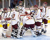 Steven Whitney (BC - 21), Chris Venti (BC - 30), Chris Kreider (BC - 19), Parker Milner (BC - 35), Bill Arnold (BC - 24), Brian Dumoulin (BC - 2) - The Boston College Eagles defeated the visiting University of Massachusetts-Amherst Minutemen 2-1 in the opening game of their 2012 Hockey East quarterfinal matchup on Friday, March 9, 2012, at Kelley Rink at Conte Forum in Chestnut Hill, Massachusetts.