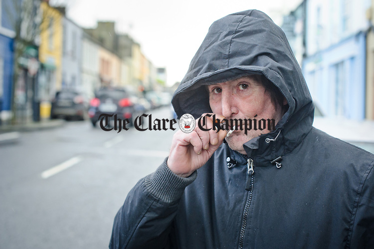 Matthew Honan of Hector Street is well wrapped up for the weather in Kilrush. Photograph by John Kelly.