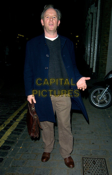 "PETER DAVISON.The ""Rent"" Press night afterparty at Jewell Bar, Covent Garden, London, England..October 15th, 2007.full length brown trousers blue coat hand brown briefcase .CAP/CAN.©Can Nguyen/Capital Pictures"