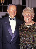 United States Senator Orrin G. Hatch (Republican of Utah), left, and his wife, Elaine, arrive for the State Dinner hosted by United States President George H.W. Bush and first lady Barbara Bush honoring President Václav Havel of Czechoslovakia at the White House in Washington, DC on October 22, 1991.<br /> Credit: Ron Sachs / CNP