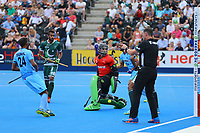 Amjad Ali the Pakistan goalkeeper is unable to save a shot from India's Akashdeep Singh during the Hockey World League Semi-Final match between Pakistan and India at the Olympic Park, London, England on 18 June 2017. Photo by Steve McCarthy.