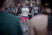 An Occupy Wall Street member taking part of the spring training season  during a weekly march called by every friday on Wall Street in New York, United States. 23/03/2012.  Photo by Kena Betancur / VIEWpress.