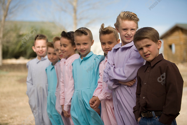 Fundamentalist Mormon group F.L.D.S., children play during a break from school, compound in Eldorado, Texas, USA, February 12, 2009