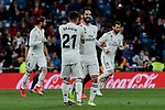 Real Madrid's Brahim Diaz (L) and Francisco Alarcon 'Isco' (R) celebrate goal during La Liga match between Real Madrid and SD Huesca at Santiago Bernabeu Stadium in Madrid, Spain.March 31, 2019. (ALTERPHOTOS/A. Perez Meca)