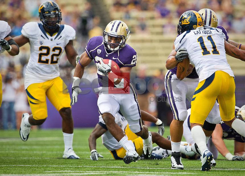 Bishop Sankey...---------University of Washington (UW) vs. University of California-Berkley (Cal) at Husky Stadium on Saturday, September 24, 2011. (Photo by Dan DeLong/Red Box Pictures)