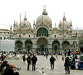 Venice, Italy - March 24, 2006 -- The facade of the Basilica di San Marco looking across the Piazza San Marco in Venice, Italy on March 24, 2006.  The piazza is always busy with tourists..Credit: Ron Sachs / CNP