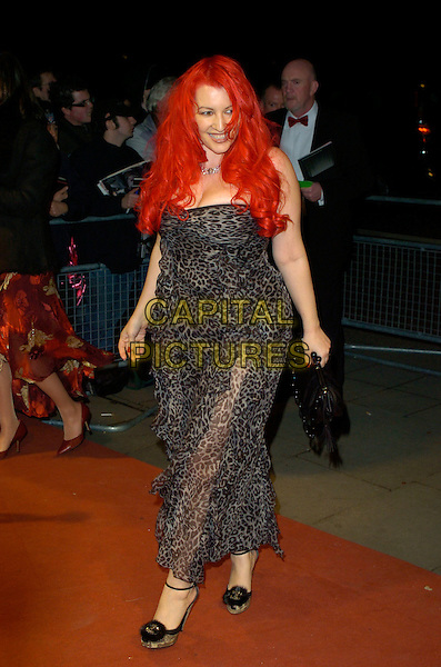 JANE GOLDMAN.Arrivals at the Official Bafta Film  Awards After Party,.Grosvenor House Hotel, Park Lane, .London, England, February 11th 2007..full length dyed red hair leopard print dress black shoes .CAP/CAN.©Can Nguyen/Capital Pictures