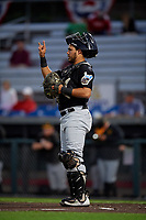 West Virginia Black Bears catcher Elys Escobar (3) during a NY-Penn League game against the Auburn Doubledays on August 23, 2019 at Falcon Park in Auburn, New York.  West Virginia defeated Auburn 6-5, the second game of a doubleheader.  (Mike Janes/Four Seam Images)
