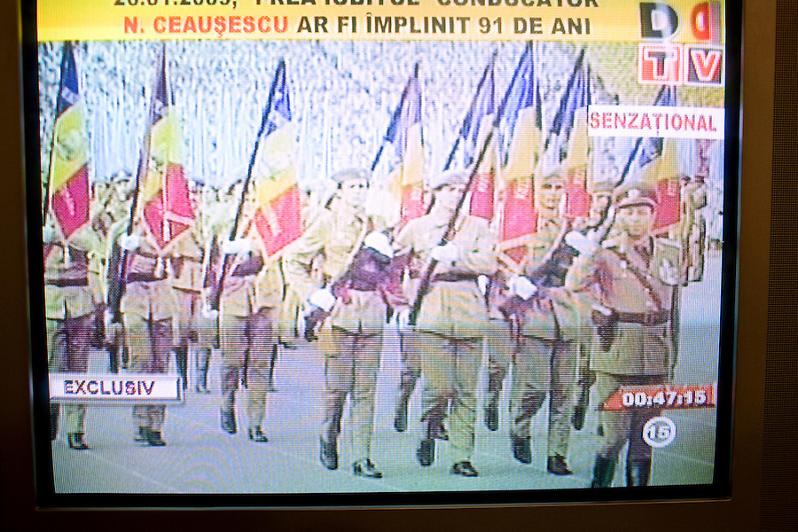 ROMANIA / Bucharest / 26.01.2009..A television screen shot of a Communist rally in support of Romanian dictator Nicolae Ceausescu. Romanian television played a documentary about his rule of Romania on the occasion of his birthday, 26 January. Ceausescu would have been 91 years-old in 2009, but he and his wife were executed by firing squad on Christmas day 1989 during the Romanian revolution. Romania experienced the most oppressive of the former Eastern Bloc's Communist regimes and by the late 1980s shops were empty of food, the imfamous secret police called the Securitate had created a police state and Ceausescu had launched grandisose Communist building projects modeled after North Korea that involved leveling one fifth of historic Bucharest...© Davin Ellicson / Anzenberger