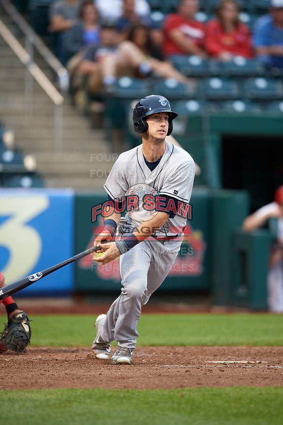 Corpus Christi Hooks right fielder Kyle Tucker (12) hits a double during a game against the Springfield Cardinals on May 31, 2017 at Hammons Field in Springfield, Missouri.  Springfield defeated Corpus Christi 5-4.  (Mike Janes/Four Seam Images)