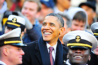 President Barack Obama has a nice moment while watching the game from the stands. Navy Midshipmen defeated Army Black Knights 27-21 during the Army vs. Navy game at the FedEx Field in Landover, MD on Saturday, December 10, 2011. Alan P. Santos/DC Sports Box