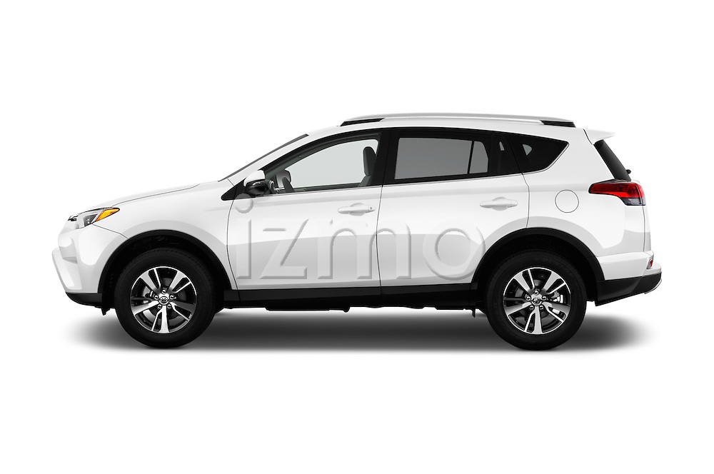 Car Driver side profile view of a 2016 Toyota RAV4 XLE 5 Door SUV Side View