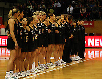 The Silver Ferns line up before the match during the International  Netball Series match between the NZ Silver Ferns and World 7 at TSB Bank Arena, Wellington, New Zealand on Monday, 24 August 2009. Photo: Dave Lintott / lintottphoto.co.nz