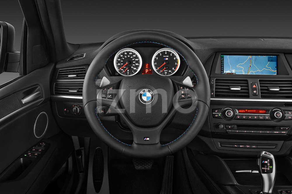 Steering wheel view of a 2013 BMW X5 M