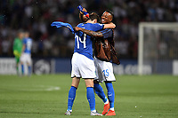 Federico Chiesa and Claud Adjapong of Italy celebrate at the end of the match <br /> Bologna 16-06-2019 Stadio Renato Dall'Ara <br /> Football UEFA Under 21 Championship Italy 2019<br /> Group Stage - Final Tournament Group A<br /> Italy - Spain <br /> Photo Andrea Staccioli / Insidefoto