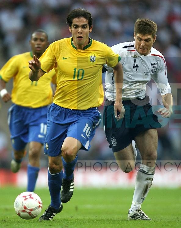 Brazil's Kaka gets away from England's Steven Gerrard..International Friendly..England v Brazil..1st June, 2007..--------------------..Sportimage +44 7980659747..admin@sportimage.co.uk..http://www.sportimage.co.uk/