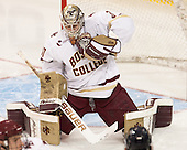 Thatcher Demko (BC - 30) - The Boston College Eagles defeated the visiting Merrimack College Warriors 2-1 on Wednesday, January 21, 2015, at Kelley Rink in Conte Forum in Chestnut Hill, Massachusetts.