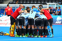 Argentina players huddle together before the start of the match during the Hockey World League Quarter-Final match between Argentina and Pakistan at the Olympic Park, London, England on 22 June 2017. Photo by Steve McCarthy.