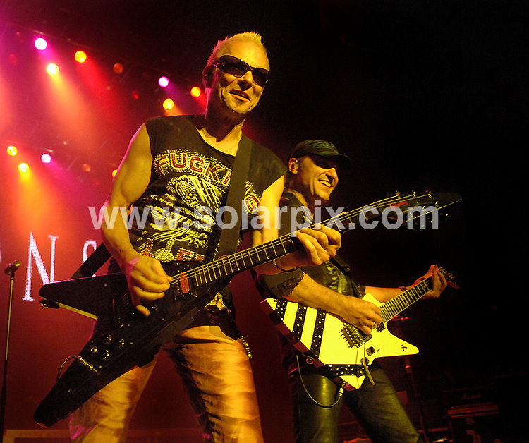 **ALL ROUND PICTURES FROM SOLARPIX.COM**.**WORLDWIDE SYNDICATION RIGHTS**.Scorpions in concert at Manchester Apollo, Manchester, UK. 15th October 2008..This pic: Rudolph Schenker and Mathias Jabs from Scorpions..JOB REF: 7609 SGD     DATE: 15_10_2008.**MUST CREDIT SOLARPIX.COM OR DOUBLE FEE WILL BE CHARGED* *UNDER NO CIRCUMSTANCES IS THIS IMAGE TO BE REPRODUCED FOR ANY ONLINE EDITION WITHOUT PRIOR PERMISSION*