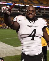 Maalik Bomar celebrates the win. Cincinnati Bearcats defeated the Pitt Panthers 26-23 at Heinz Field in Pittsburgh, Pennsylvania on November 5, 2011.