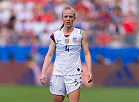 REIMS,  - JUNE 24: Becky Sauerbrunn #4 watches the play during a game between NT v Spain and  at Stade Auguste Delaune on June 24, 2019 in Reims, France.