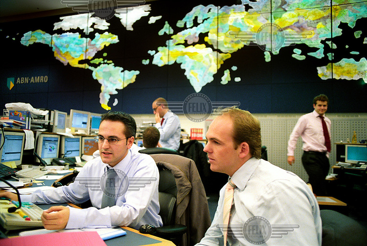 Traders in the central dealing room of ABN Amro bank.