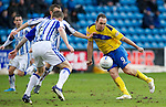 Kilmarnock v St Johnstone....03.03.12   SPL.Lee Croft closed down by Dean Sheils and Michael Nelson.Picture by Graeme Hart..Copyright Perthshire Picture Agency.Tel: 01738 623350  Mobile: 07990 594431