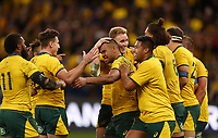 Australia players celebrate after Kurtley Beale (centre) scores a try during the Rugby Championship match between Australia and New Zealand at Optus Stadium in Perth, Australia on August 10, 2019 . Photo: Gary Day / Frozen In Motion