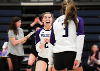 NWA Democrat-Gazette/CHARLIE KAIJO Fayetteville High School Amelia Whatley (2) reacts during a volleyball game, Thursday, October 11, 2018 at Rogers Heritage High School in Rogers.
