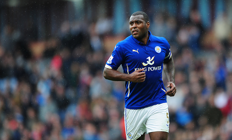 Leicester City's Wes Morgan<br /> <br /> Photographer Chris Vaughan/CameraSport<br /> <br /> Football - Barclays Premiership - Burnley v Leicester City - Saturday 25th April 2015 - Turf Moor - Burnley<br /> <br /> &copy; CameraSport - 43 Linden Ave. Countesthorpe. Leicester. England. LE8 5PG - Tel: +44 (0) 116 277 4147 - admin@camerasport.com - www.camerasport.com