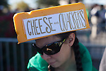 Trista Tamura shows off her cheese block hat before the Fiesta Bowl, thursday, Jan. 3, 2013.  ..Tribune Photo: Meg Williams ..1-3-12, 2013, DUCKS, Glendale, Kansas State, Phoenix, U OF O, University of Phoenix stadium, Fiesta bowl, football, tailgating, University of Oregon