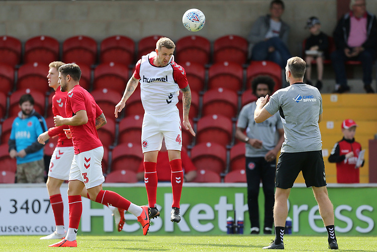 Fleetwood Town's Peter Clarke players during the pre-match warm-up <br /> <br /> Photographer Rich Linley/CameraSport<br /> <br /> The EFL Sky Bet League One - Fleetwood Town v Oxford United - Saturday 7th September 2019 - Highbury Stadium - Fleetwood<br /> <br /> World Copyright © 2019 CameraSport. All rights reserved. 43 Linden Ave. Countesthorpe. Leicester. England. LE8 5PG - Tel: +44 (0) 116 277 4147 - admin@camerasport.com - www.camerasport.com