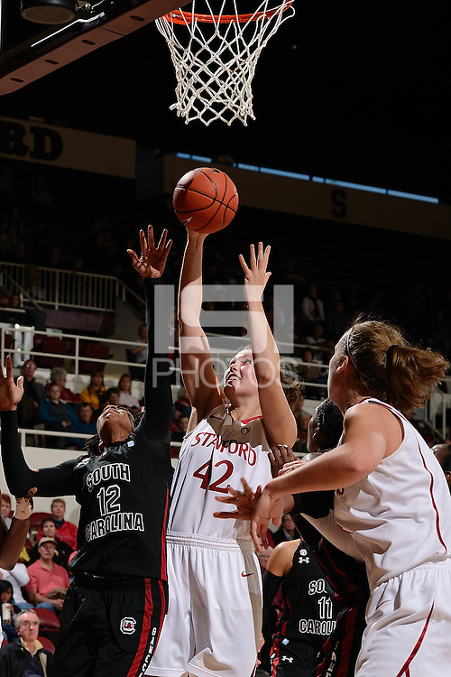 STANFORD, CA - NOVEMBER 26: Sarah Boothe of Stanford women's basketball puts up a shot in a game against South Carolina on November 26, 2010 at Maples Pavilion in Stanford, California.  Stanford topped South Carolina, 70-32.