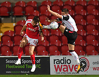 Fleetwood Town's Joe Maguire gets a boot in the head<br /> <br /> Photographer Dave Howarth/CameraSport<br /> <br /> EFL Checkatrade Trophy - Northern Section Group A - Fleetwood Town v Morecambe - Tuesday 3rd October 2017 - Highbury Stadium - Fleetwood<br />  <br /> World Copyright &copy; 2018 CameraSport. All rights reserved. 43 Linden Ave. Countesthorpe. Leicester. England. LE8 5PG - Tel: +44 (0) 116 277 4147 - admin@camerasport.com - www.camerasport.com