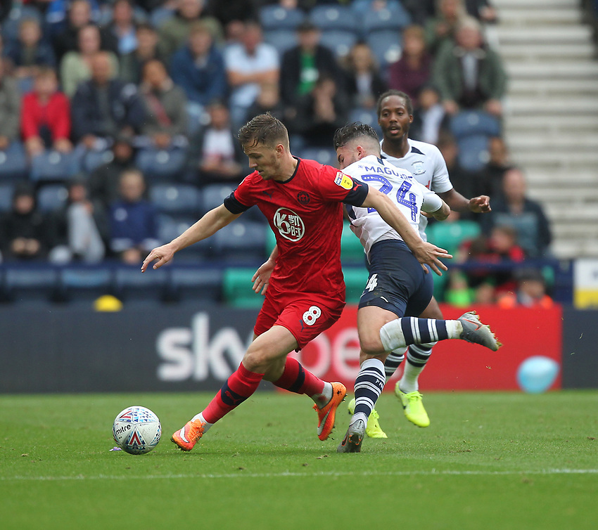 Preston North End's Sean Maguire battles with  Wigan Athletic's Lee Evans <br /> <br /> Photographer Mick Walker/CameraSport<br /> <br /> The EFL Sky Bet Championship - Preston North End v Wigan Athletic - Saturday 10th August 2019 - Deepdale Stadium - Preston<br /> <br /> World Copyright © 2019 CameraSport. All rights reserved. 43 Linden Ave. Countesthorpe. Leicester. England. LE8 5PG - Tel: +44 (0) 116 277 4147 - admin@camerasport.com - www.camerasport.com