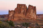 "The bizarre and beautiful rock forms of the ""Courthouse Towers"" at Arches National Park, Utah, USA"