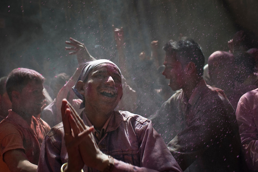 Indian Hindu devotees celebrate Holi at the Bankey Bihari temple in the Northern Indian city of Vrindavan. Monday 1st March 2010..Photograph by: Niklas Halle'n/CHI-photo/Rex features