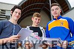 Leaving certificate students CBS the Green, Tralee, who got their results on Wednesday, from left: Paul Perry Ardfert ,Cian O'Brien, Tralee and Paudie O'Connor, Ballymac.