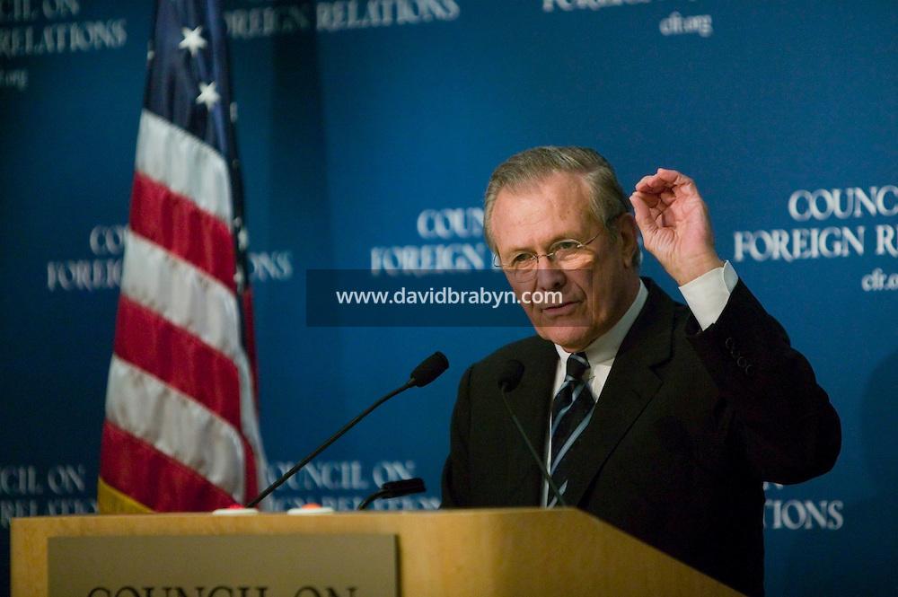 17 February 2006 - New York City, NY - Secretary of Defense Donald Rumsfeld talks to members of a think tank in New York City, USA, 17 February 2006. Photo Credit: David Brabyn.