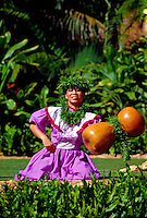 A beautiful hula dancer wearing a traditional dress chants with her ipu heke(gourd instrument) outdoors at Lanikuhonua on Oahu's leeward side.