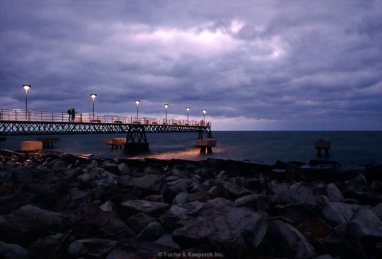 A pier near downtown Cleveland edges out into Lake Erie.
